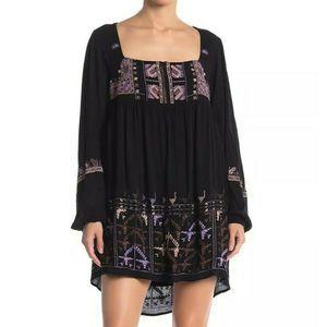 Free People S Black Embroidered Mini Dress